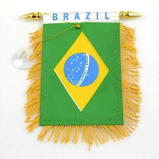 """BRAZIL"" FLAG MINI BANNER CAR WINDOW MIRROR"