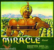 Placentia Miracle Genie Green Version Orange Citrus Fruit Crate Label Art Print