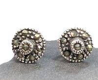 925 Sterling Silver  Small Stud Pierced Earring Marcasite signed CW