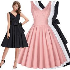 Pin Up Damen Vintage 50er Jahre Ballkleid Abendkleid Petticoat Retro Sommerkleid