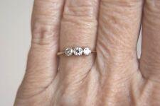 Fine Art Deco Vintage 18 CT & Plat tres Piedra Anillo Trilogía Diamante Corte Antiguo L