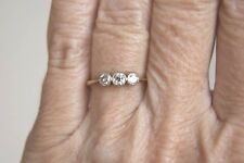 FINE VINTAGE ART DECO 18 CT& PLAT THREE STONE OLD CUT DIAMOND TRILOGY RING L