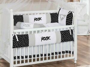 Rock Skull Theme Black/Gray/White Baby Boy and Girl 7pc Nursery Crib Bedding Set