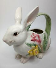 Fitz & Floyd Bunny Rabbit Teapot Spring Floral Tulips Daffodils
