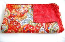 Handmade Quilt Vintage Kantha Indian Bedspread Throw Cotton Blanket Ralli Gudari