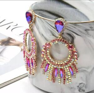 brand new zara styled purple pink crystal earrings earrings beautiful sparkling