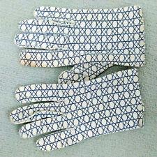 Vtg Le Gant Hermes Wear Right Usa Blue White Abstract Geometric Print Gloves 6