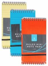 5 Mini Note pads Spiral Bound Ruled Lined Small Pocket Notebooks Vibrant Cover