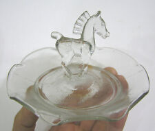 Vtg MCM Glass Trinket Dish w Horse Figure in Center 1940s-50s