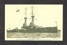 POSTCARD:  BRITISH NAVY BATTLESHIP HMS COLLINGWOOD - SINGER SEWING MACHINE ADVT.