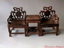 Pure hand Chicken Wing Wood Miniatures model Ming Dy fauteuil and tea table#2691