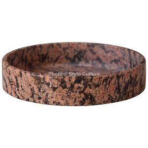 Indian Round Red Granite Multipurpose Tray Bedroom Bathroom Vanity Tray Unjoined