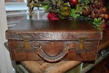Antique Brown Faux Embossed Croc Leather Luggage Suitcase