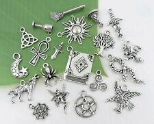 20 WICCAN Charms, Antique Silver Mixed Collection Set Lot, Pagan Witch US Seller