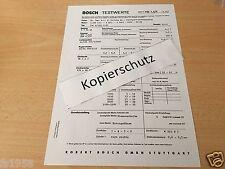 Porsche 356 B / 1600 S-90 Bj. 1960-61,  Bosch-Testwerte-Blatt