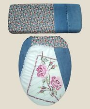 Denim Embroidered Rose Western Country Bathroom Decor Toilet Seat Lid Cover Set