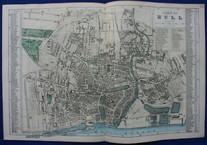HULL CITY PLAN, STREET PLAN, original antique map, Bacon, 1884