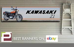 Kawasaki Z1 900, Jaffa Orange, 40th Anniversary Banner, for Workshop, Garage
