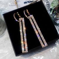 Long Geometric Drop Dangle Earrings Rhinestone Ear Studs Women Jewelry OD