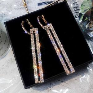 Long Geometric Drop Dangle Earrings Rhinestone Ear Studs Women Jewelry GiftR_ TC