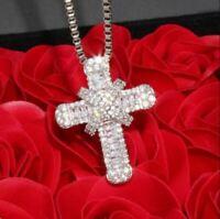 2.50Ct Round Cut VVS1/D Diamond Cross Pendant 14K White Gold Finish Free Chain
