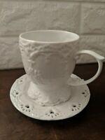 Vintage Ganz Porcelain Teacup And Saucer Set White Heart Eyelet and Floral Decor