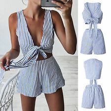 Women Striped Casual Jumpsuit Playsuit Bandage Summer Beach Crop Top Shorts Suit