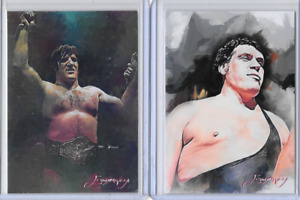 Bruno Sammartino Andre the Giant Artist Signed Limited Edition 2 Card Lot