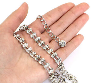 Silver Crystals Belt or Belly Chain with 2 Rows Diamante Crystals