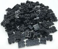 Lego 100 New Black Plates Modified 2 x 2 x 2/3 with 2 Studs on Side Pieces