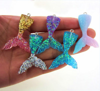 10x Charms Mermaid Fishtail Pendants Resin DIY HandCraft Handmade Gift Accessory