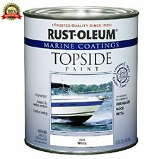Marine Boat Wood Metal Fiberglass Topside Paint Coating Gloss White 1 Quart