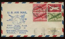 US FAM 18 First Flight Cover 1947 NYC to Calcutta, India with backstamp