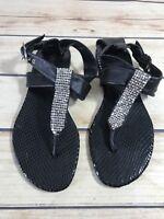 Guess Size 5 Black Sequin Strappy Ankle Strap Flip Flop Flat Sandal Comfort Wear