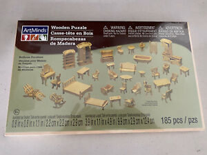 Wooden Dollhouse Furniture Kit Puzzle Piece Fit Creatology NEW