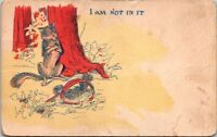 Vintage Postcard Wolf I am Not In It Illustration Unposted