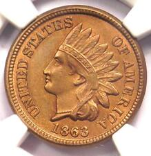 1863 Indian Cent 1C - Certified NGC Uncirculated Detail - Rare UNC MS Penny!