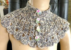 Handmade Crocheted Collar Soft Wrap Scarf Grays White Capelet 4  Rose Buttons