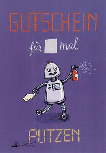 Postkarte: Gutschein für ... mal Putzen / Roboter