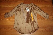 NWT Womens NINE WEST Sepia Tan Liliana Tie Dye Shirt Size S Small