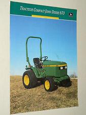 Prospectus Tracteur JOHN DEERE 670 Jardin  tractor traktor prospekt trattore