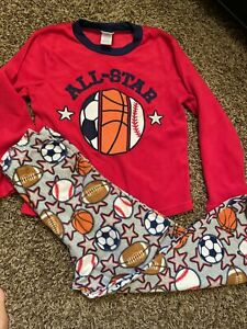 Up Late Boy's Size 10 2-Piece Pajama Set Long Sleeve Pants Sports Balls  Winter