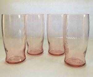 Pink Swirl  Spiral Optic Tumblers 16 oz. Depression Glass?