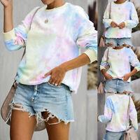 ❤️ Women's Tie-Dye Long Sleeve Jumper Tops Casual Loose Sweatshirt Pullover Tops