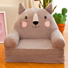 Cartoon Children Foldable Sofa Cover Chair Couch Seat Slipcover Grey Cat