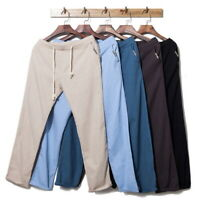 Men Summer Linen Loose Trousers Casual/Travel Beach Rope Tie Drawstring Pants GI