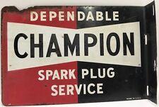 Original Vintage 1950S Double-Sided Flange Champion Spark Plug Metal Sign