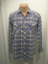 Wrangler Western Shirt Men's Gray Purple White Pearl Snap Plaid Long Sleeves M