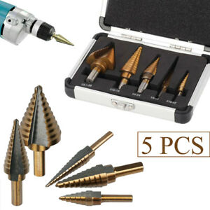 5 PCS HSS Step Large Titanium Cone Drill Hole Cutter Bit Kit Tool with Case
