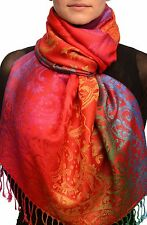 Large Ombre Paisley On Red Pashmina With Tassels (SF002577)